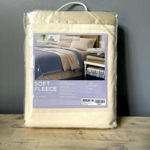 Charter Club Fleece Blanket Cream Twin Satin Trim